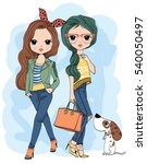 cute girl t shirt graphics girl ... | Shutterstock .eps vector #540050497