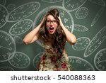 anxious female feels pressure... | Shutterstock . vector #540088363