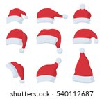 set of santa claus red hat in... | Shutterstock . vector #540112687