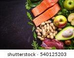 fresh vegetables  fruits  fish  ... | Shutterstock . vector #540125203