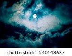 the moon on the dark sky among... | Shutterstock . vector #540148687