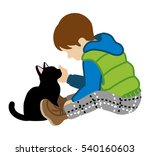 boy and black cat | Shutterstock .eps vector #540160603