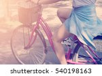 The Girl Rides A Bicycle In Th...