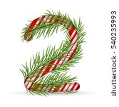 christmas number 2  candy cane... | Shutterstock .eps vector #540235993