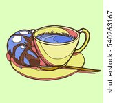 hand drawn breakfast. coffee...   Shutterstock .eps vector #540263167