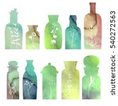 set with small vintage bottles. ... | Shutterstock .eps vector #540272563