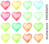 set of watercolor hearts. set... | Shutterstock . vector #540283693