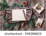 christmas letter on wooden...   Shutterstock . vector #540288823