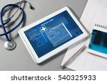 white tablet pc and doctor... | Shutterstock . vector #540325933