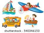 Kids riding on different types of transportation illustration