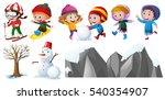 children playing in the snow... | Shutterstock .eps vector #540354907