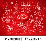 christmas vintage line art... | Shutterstock .eps vector #540355957