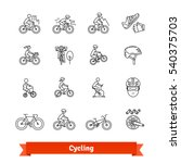 bicycle riders thin line art... | Shutterstock .eps vector #540375703