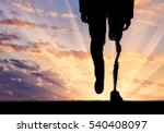 leg with prosthesis on... | Shutterstock . vector #540408097