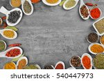 different spices in bowls and... | Shutterstock . vector #540447973