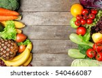 fruits and vegetables on wooden ... | Shutterstock . vector #540466087