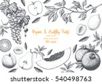fruits top view frame with... | Shutterstock .eps vector #540498763