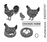 chicken farm premium quality.... | Shutterstock .eps vector #540535747