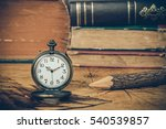 vintage pocket watch on old map ... | Shutterstock . vector #540539857