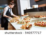 restaurant waitress serving...   Shutterstock . vector #540577717