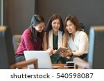 group of friends meeting in a... | Shutterstock . vector #540598087