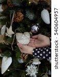 girl holding christmas tree... | Shutterstock . vector #540604957