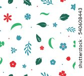 Vector Flat Flowers  Leaves An...