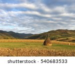 Hay Bale At Farmland Around...