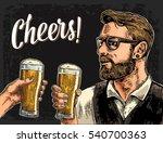 hipster holding glass of beer...   Shutterstock .eps vector #540700363