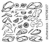 vector set of chicken hand... | Shutterstock .eps vector #540708157