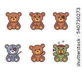 Vector Set Of Bear Icon.
