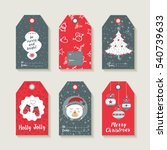 christmas set of gift labels... | Shutterstock . vector #540739633