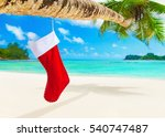 red christmas sock with... | Shutterstock . vector #540747487