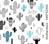 hand drawn seamless pattern... | Shutterstock .eps vector #540752503