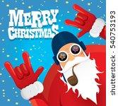vector rock n roll santa claus... | Shutterstock .eps vector #540753193