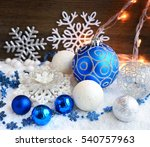christmas decorative balls on... | Shutterstock . vector #540757963