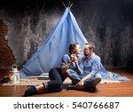 romantic love story on blue... | Shutterstock . vector #540766687
