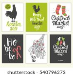 christmas poster set in sketch... | Shutterstock .eps vector #540796273