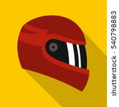 Red Racing Helmet Icon. Flat...