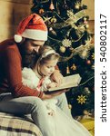 christmas father and daughter... | Shutterstock . vector #540802117
