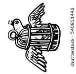 bird flies carrying its cage | Shutterstock .eps vector #540821443