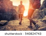two lady hiker on the walkway... | Shutterstock . vector #540824743