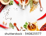 spices in wooden bowl white... | Shutterstock . vector #540825577