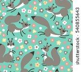 little cute squirrels on... | Shutterstock .eps vector #540855643