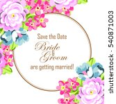 invitation with floral... | Shutterstock . vector #540871003