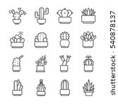 cactus and succulent icons set. ... | Shutterstock .eps vector #540878137