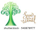 paper art of save the world and ... | Shutterstock .eps vector #540878977