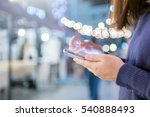 woman touching smartphone with... | Shutterstock . vector #540888493
