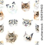 seamless pattern with cats.... | Shutterstock . vector #540939403