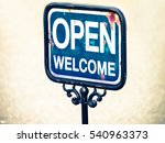 old sign   words open and... | Shutterstock . vector #540963373